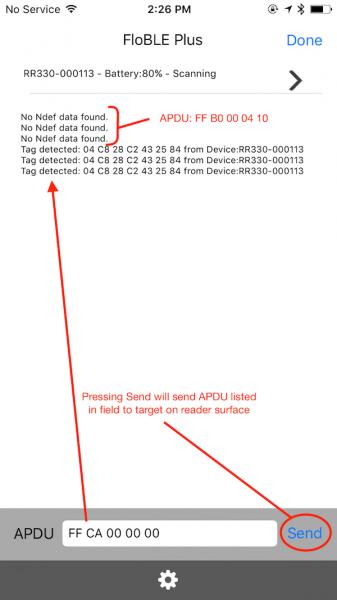 Test App sending APDUs to Tag